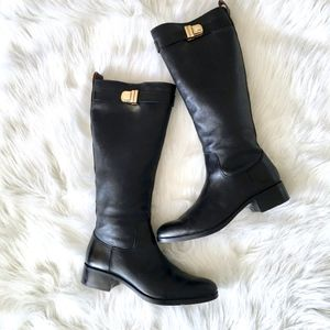Louise Et Cie Black Leather Tall Luxury Boots 9.5